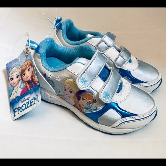 Disney FROZEN Tennis Shoes Sneakers Infant//Toddler 6 White Blue Sparkly Velcro